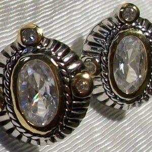 Jewelry - Huge Designer Look Sterling & Goldtone cz Sparkly